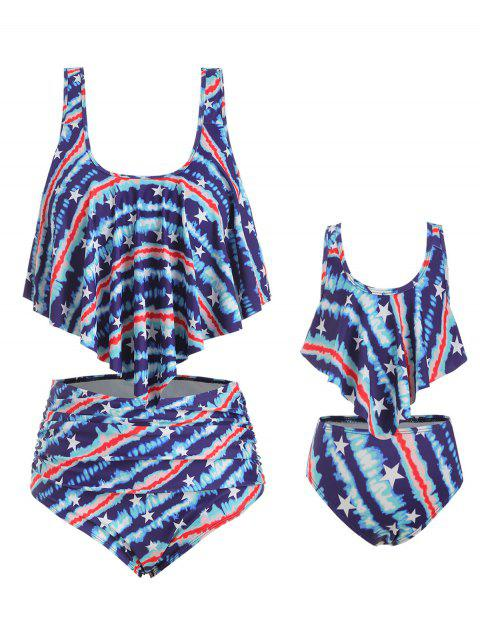 American Flag Overlay Ruffles Family Plus Size Tankini Swimsuit - BLUE MOM 4X