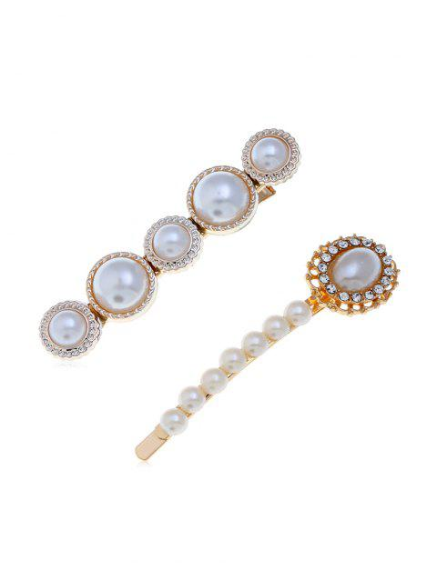 Round Faux Pearl Diamante Hairpin Sets - multicolor