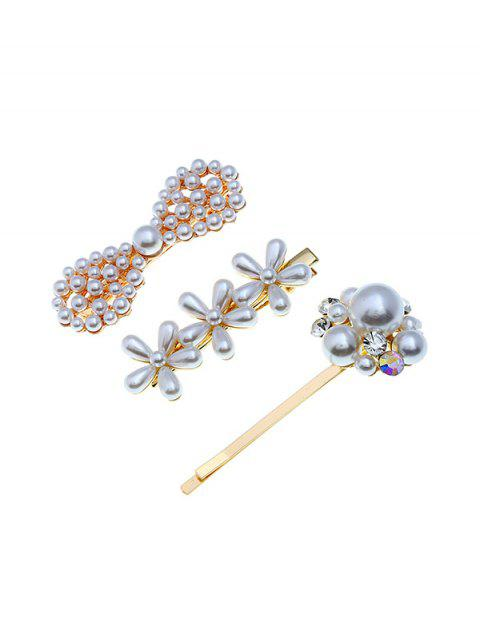 Floral Bow Faux Pearl Hairpin Set - multicolor