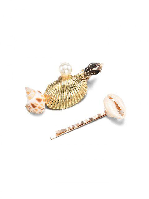 2Pcs Shell Conch Hairpins Set - GOLD