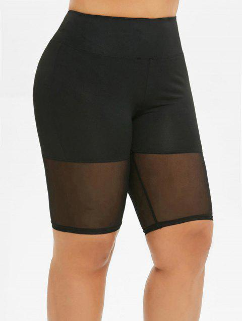 Voile Panel Solid Biker Plus Size Shorts - BLACK 1X