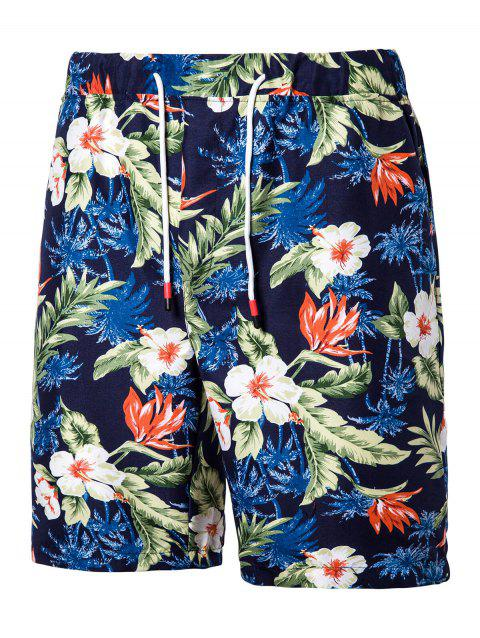 Floral Print Board Shorts - LAPIS BLUE 2XL