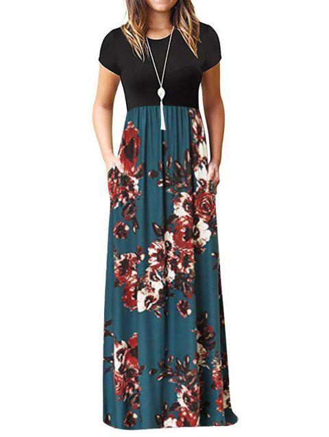 Robe florale longue au sol - multicolor A XL