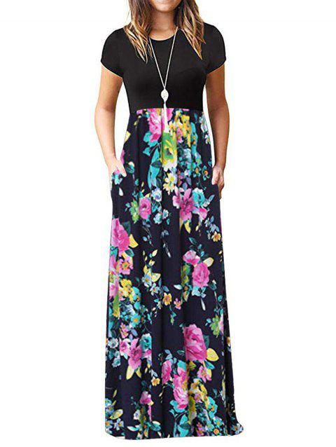 Pockets Floral Floor Length Dress - multicolor B 2XL