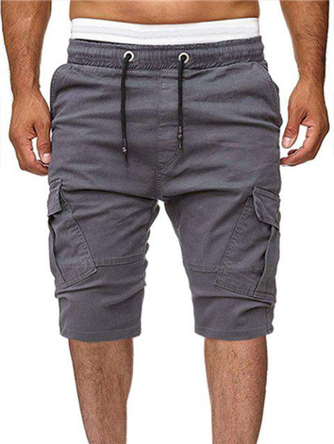 Solid Color Multi-pocket Sport Shorts - GRAY XL