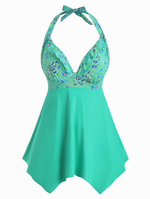 Plus Size Halter Open Back Floral Tankini Swimsuit - MACAW BLUE GREEN 5X