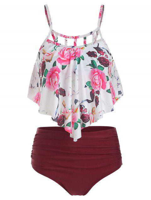 Floral Print Cut Out Ruched Tankini Set - RED WINE XL