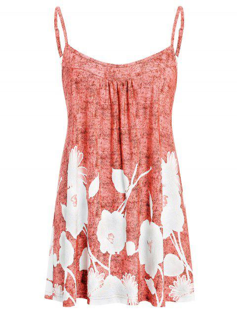 Plus Size Printed Flare Cami Tank Top - LIGHT CORAL 4X
