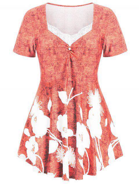 Plus Size Marled Floral Print T-shirt - LIGHT CORAL 5X