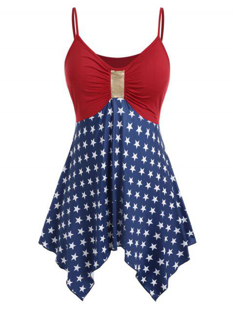 Plus Size Handkerchief American Flag Cami Top - RED 3X