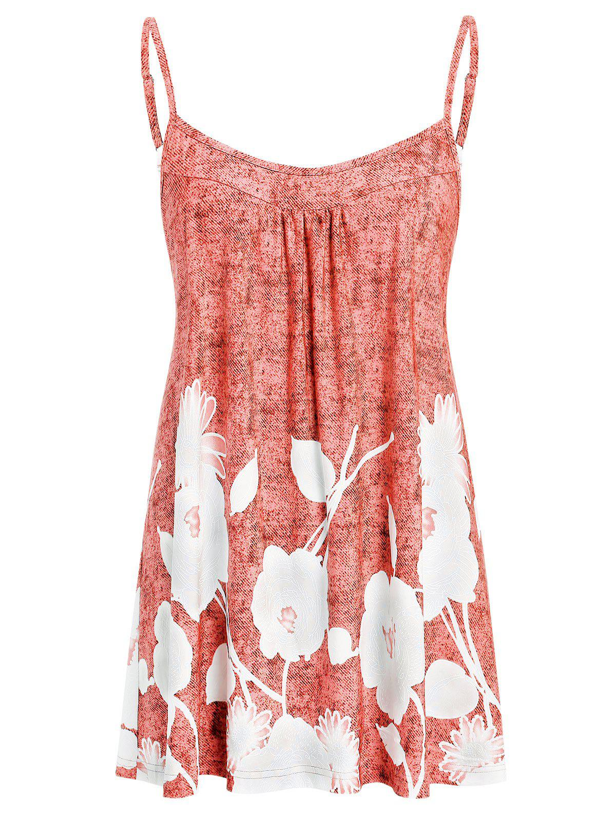 Plus Size Printed Flare Cami Tank Top - LIGHT CORAL 3X