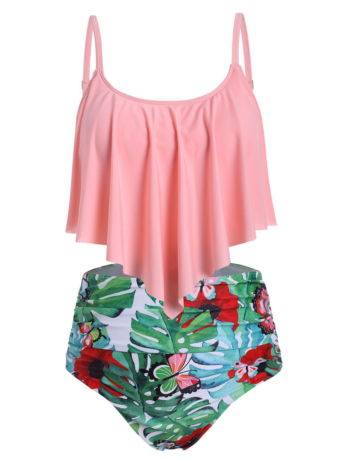 Plus Size Ruffled Palm Print Ruched Tankini Swimsuit - multicolor A 5X
