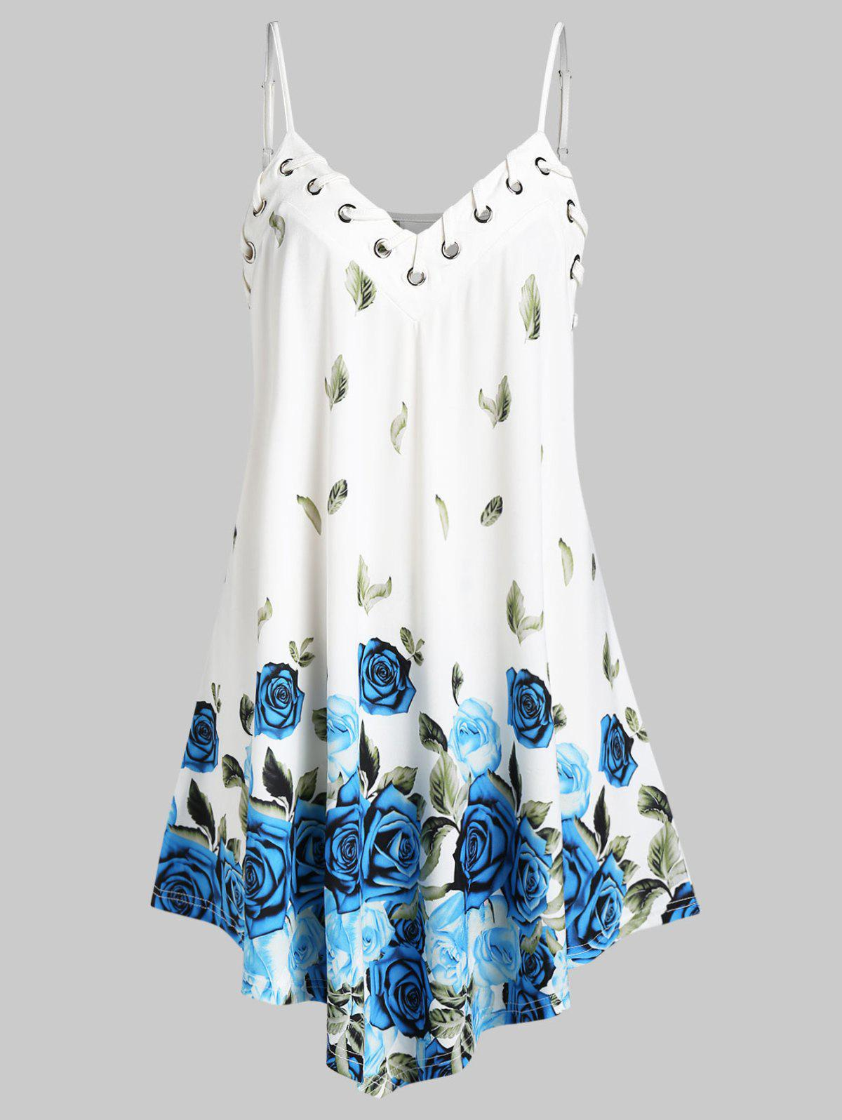 Plus Size Floral Leaves Print Flare Cami Top - WHITE L