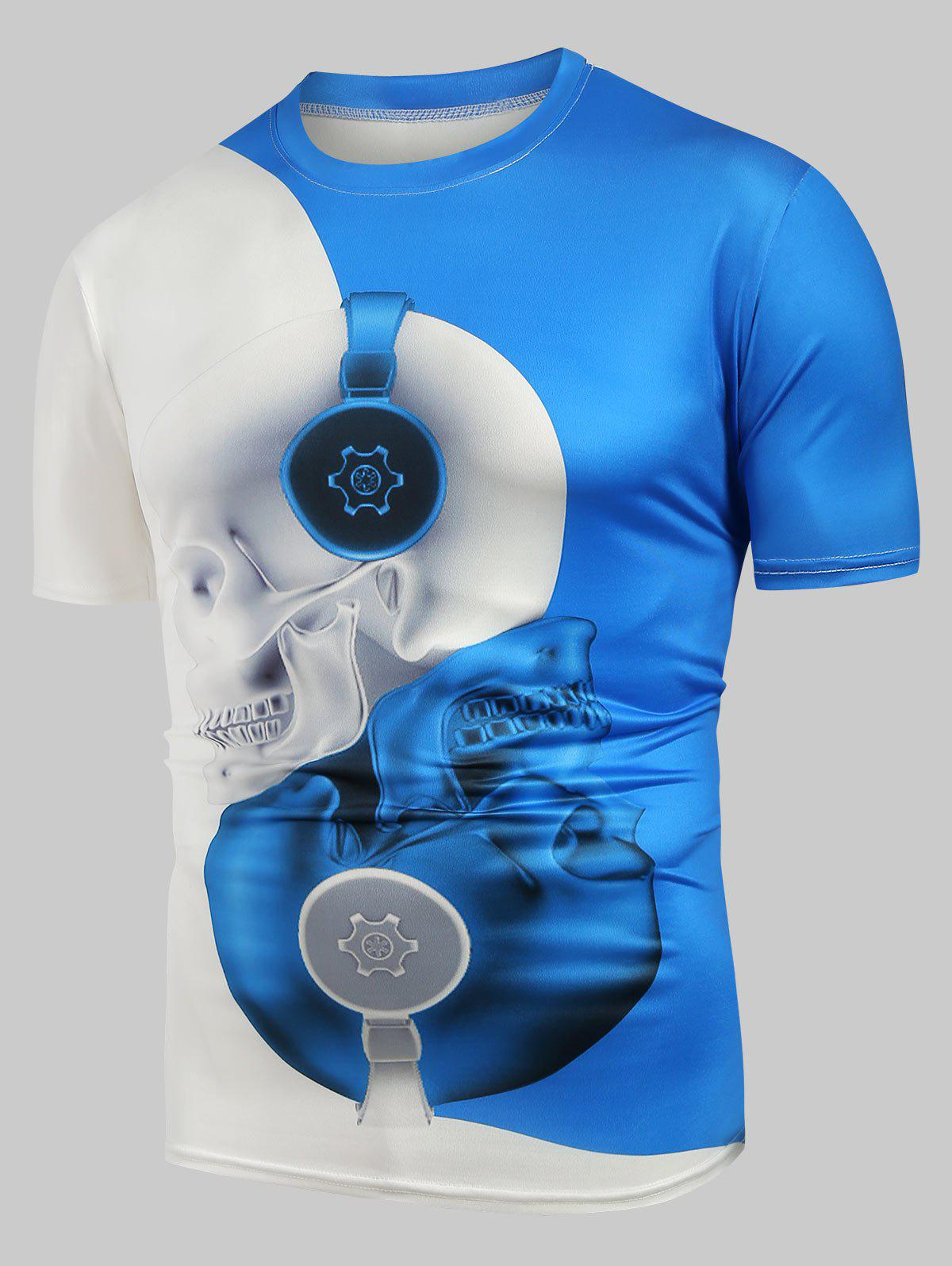 Skull Print Two Tone Casual T Shirt - LIGHT BLUE 3XL
