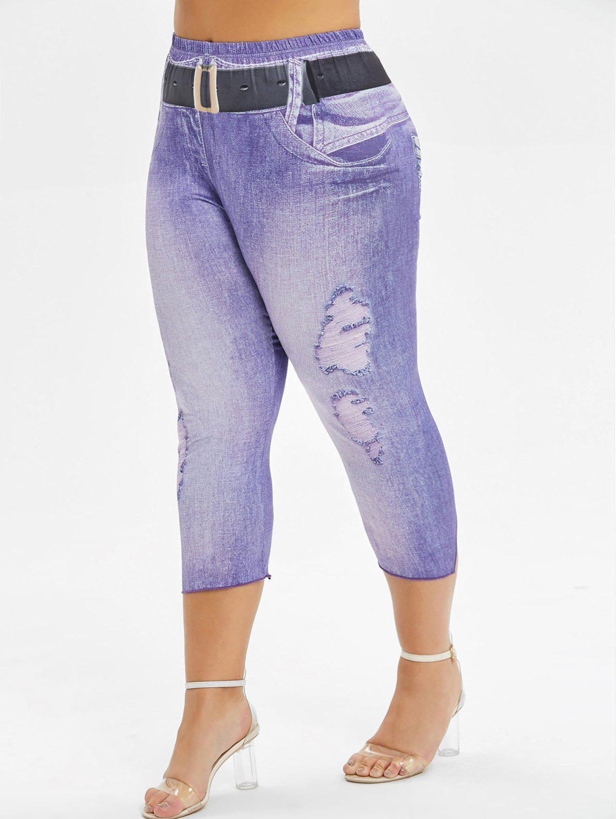 Printed Capri Skinny Plus Size Pants - PURPLE 1X