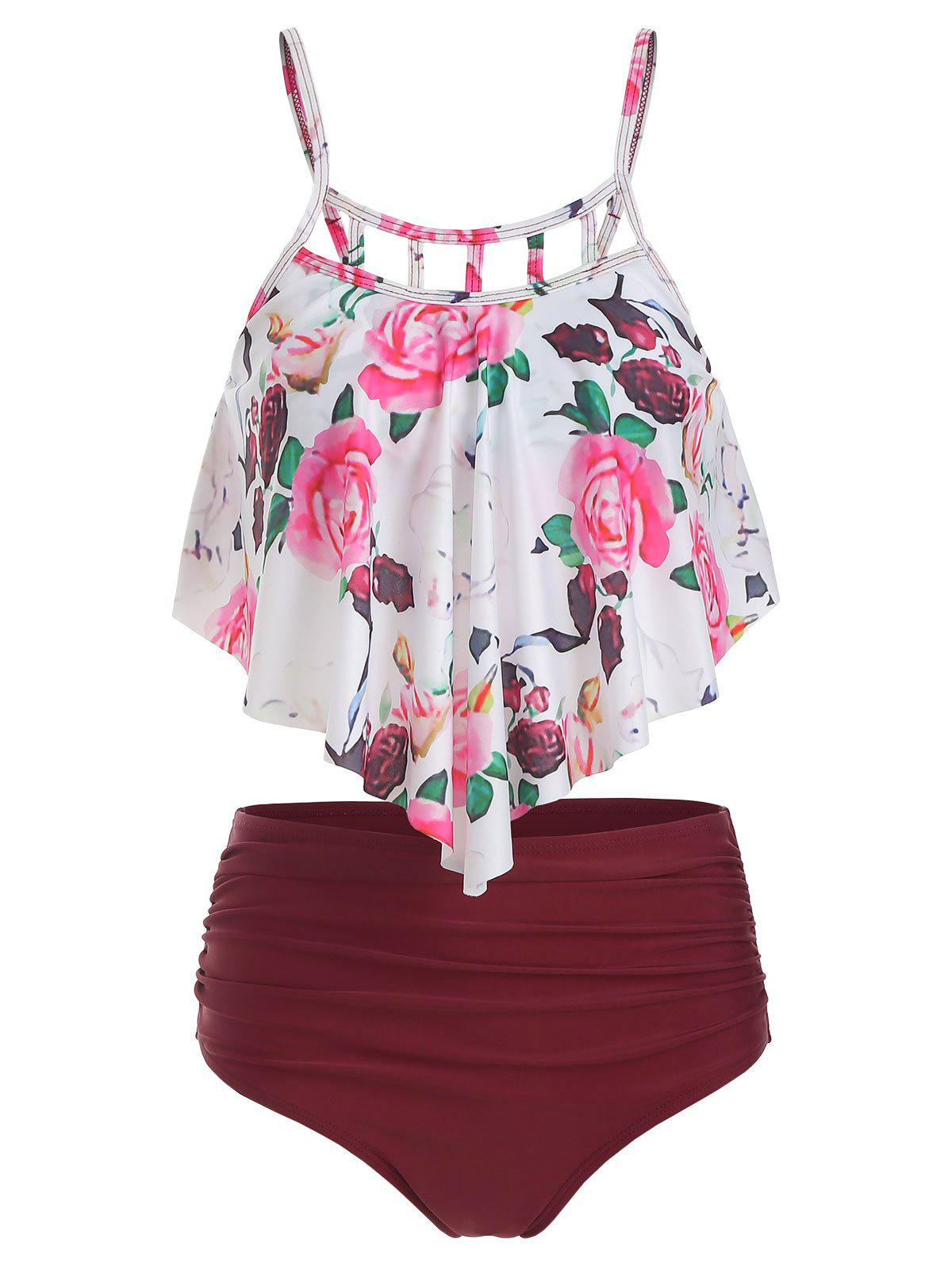 Floral Print Cut Out Ruched Tankini Set - RED WINE 2XL