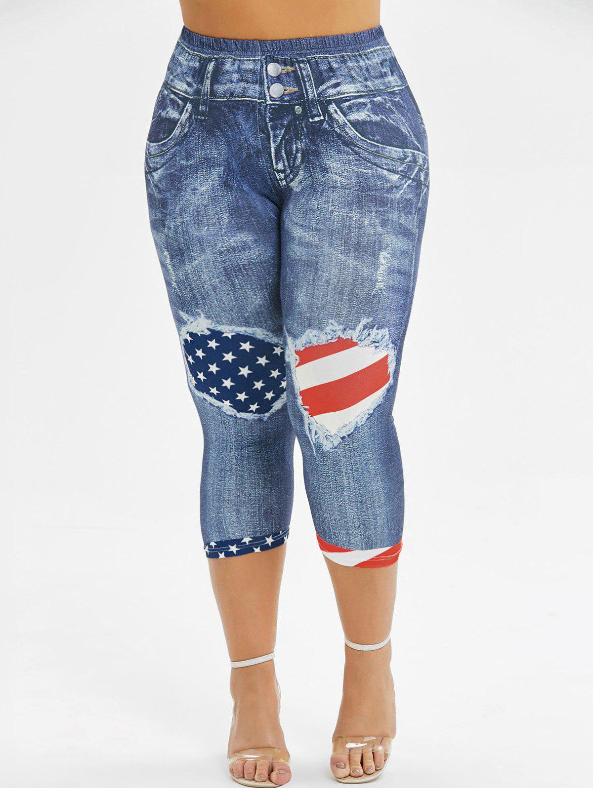 American Flag 3D Printed Skinny Capri Plus Size Jeggings - BLUE 2X