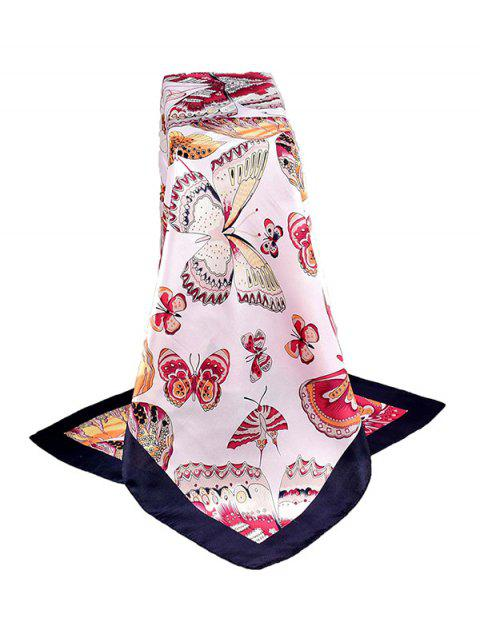 Butterfly Print Satin Silky Square Scarf - CADETBLUE