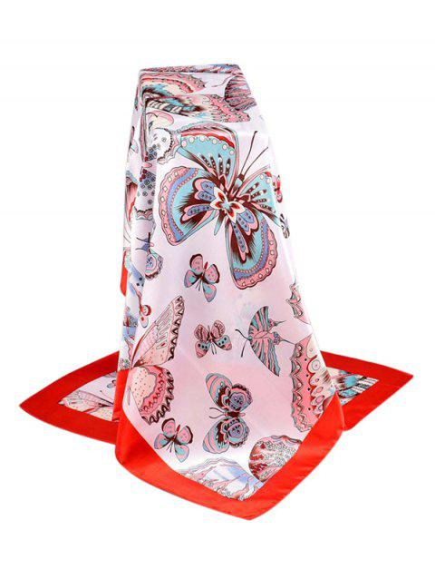 Butterfly Print Satin Silky Square Scarf - RED