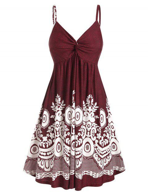 Plus Size Cami Printed Fit And Flare Dress - RED WINE 2X