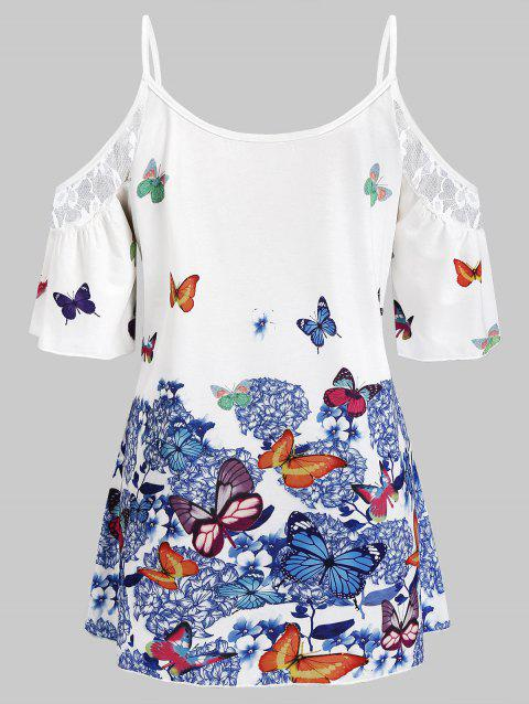 5496e270f4560d 17% OFF] 2019 Plus Size Cold Shoulder Butterfly Print Cami Blouse In ...
