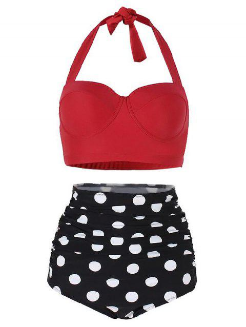 Polka Dot Ruched Halter Bikini Set - RED L