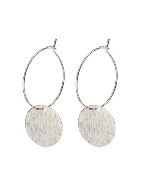 Brief Round Drop Hoop Earrings - SILVER 2PCS