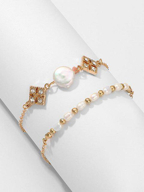 Pearl Rhinestone Decorated Bracelet Set - GOLD