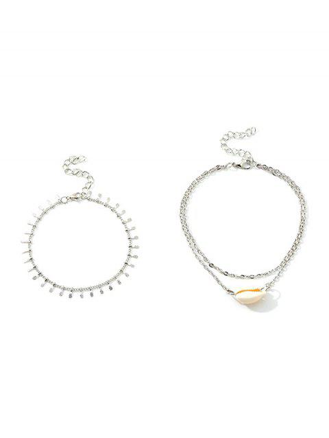 2Pcs Layers Shell Beach Anklet Set - SILVER