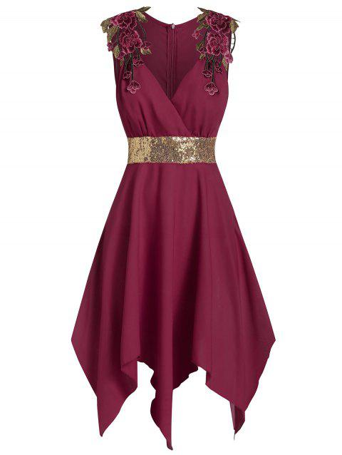 Asymmetric Sequined Embroidered Dress - RED WINE M