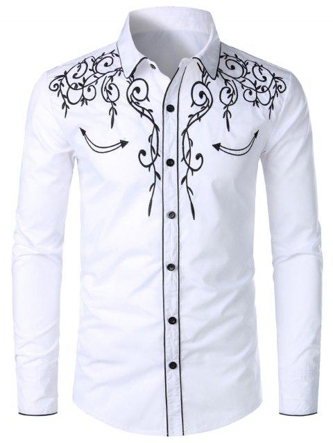 Casual Button Up Design Long Sleeves Shirt - WHITE 2XL