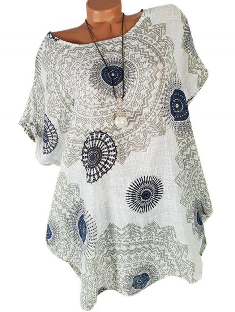 Printed Batwing Curved Plus Size Blouse - WHITE 2X