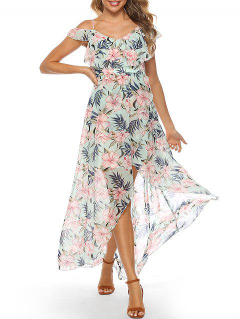 Floral Cold Shoulder Flounce Tulip Dress - multicolor L