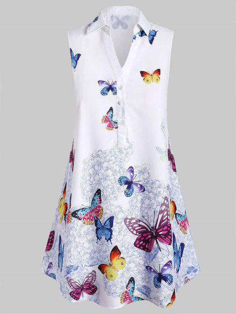 Plus Size Sleeveless Butterfly Print Blouse - WHITE M