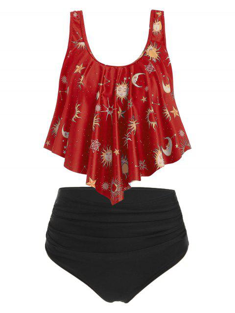 Sun Stars Moon Flounce Runched Tankini Swimsuit - RUBY RED M