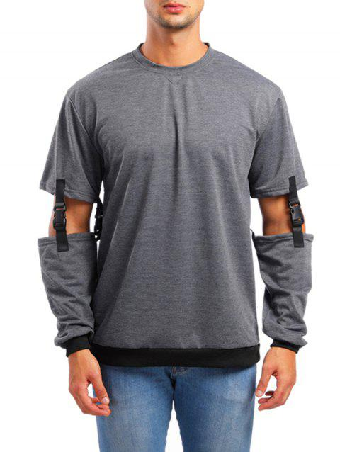 Unique Solid Color Design Sweatshirt - DARK GRAY 2XL