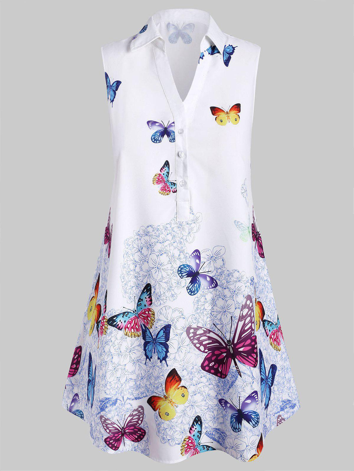 Plus Size Sleeveless Butterfly Print Blouse - WHITE L