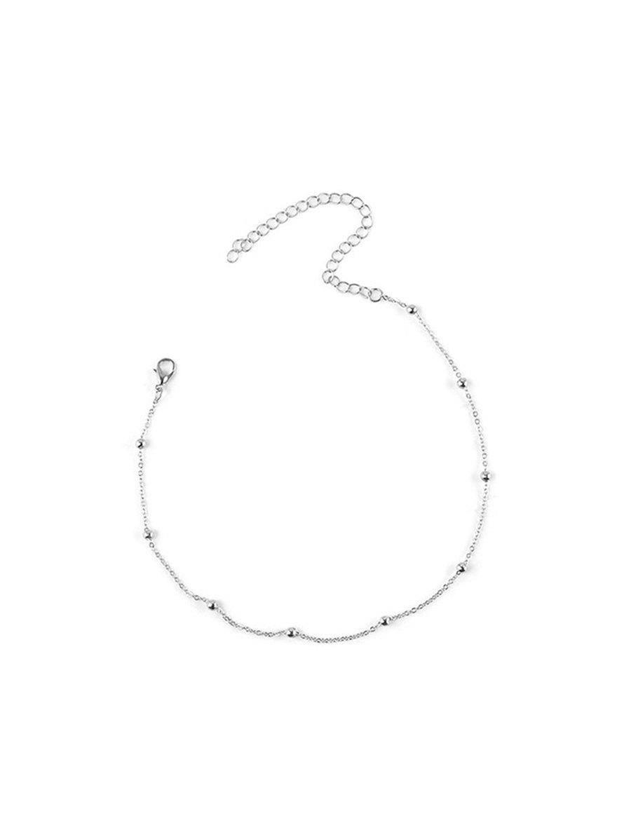 Simple Beads Chain Collarbone Necklace - SILVER