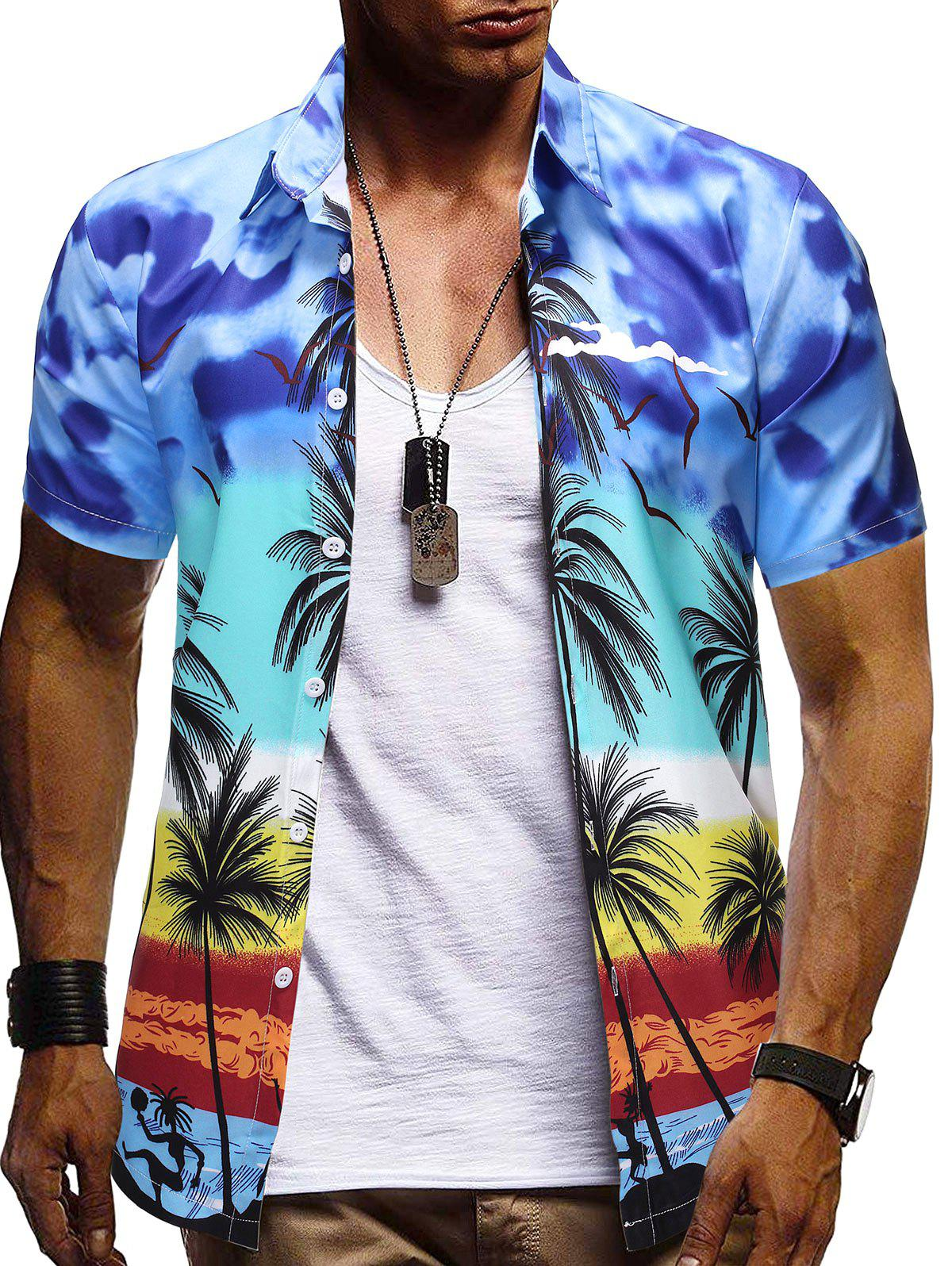 Hawaii Palm Tree Pattern Button Down Shirt - BLUE S