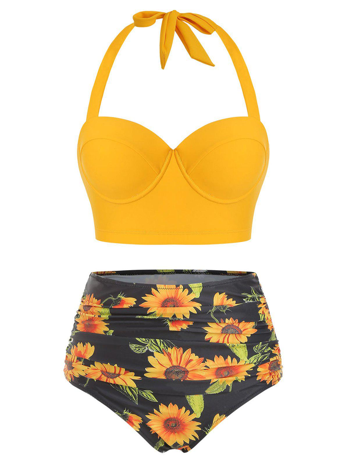 Sunflower Print Ruched Halter Bikini Swimsuit - YELLOW L