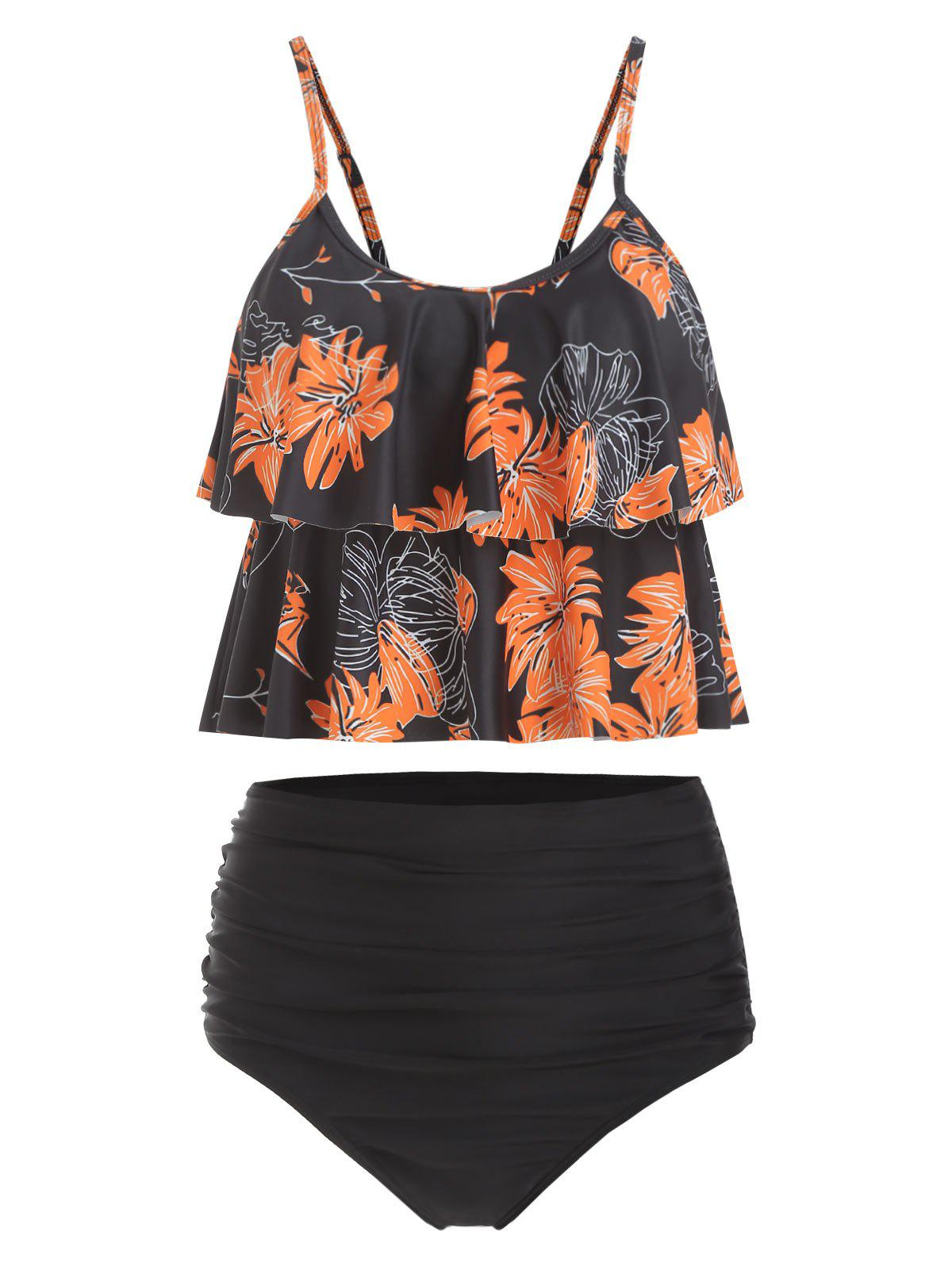 Ruched Floral Print Overlay Tankini Set - BLACK S