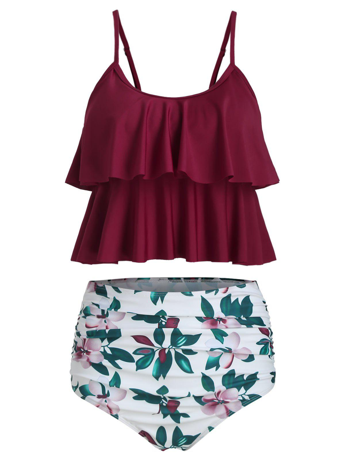 Ruched Floral Print Overlay Tankini Set - RED WINE S