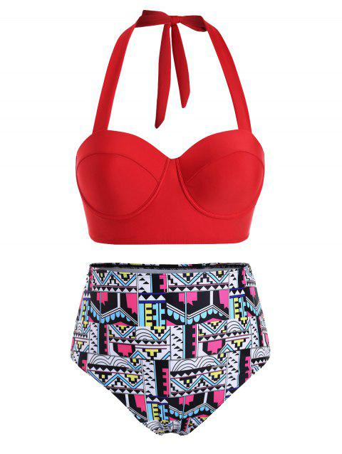 Contrast Geometric Underwire Halter Plus Size Bikini Swimsuit - RED 3X