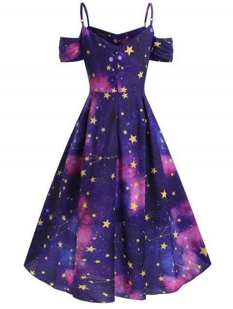 42% OFF] 2019 Star Galaxy High Low Open Shoulder Plus Size Dress In ...