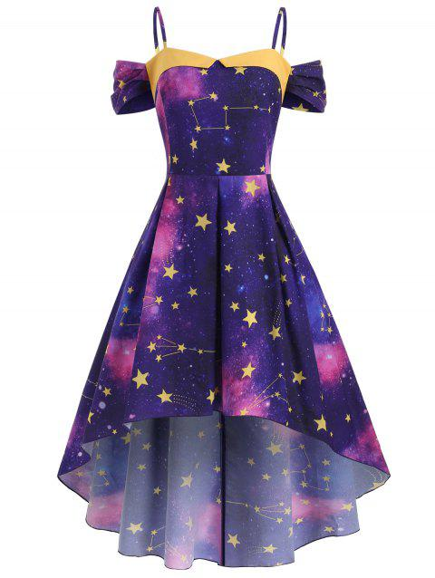 Star Galaxy High Low Open Shoulder Plus Size Dress - PURPLE 2X