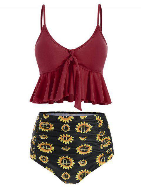 Ruffles Floral Print Knotted Tankini Set - RED WINE 2XL