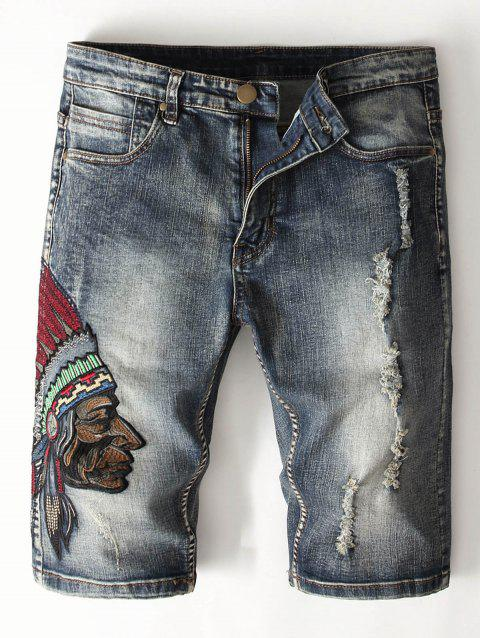 Tribal Embroidery Decoration Jeans Shorts - DENIM DARK BLUE 32
