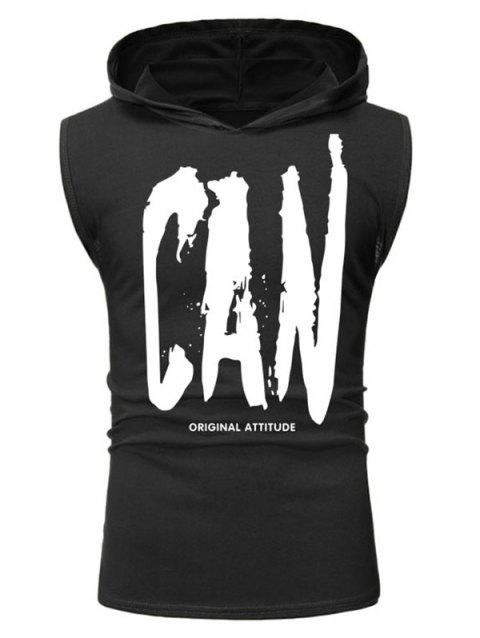 Can Letter Painting Print Hooded Tank Top - BLACK XL