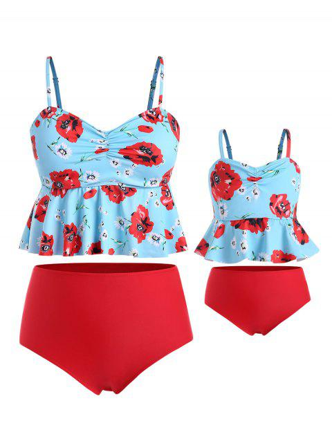 Floral Cinched Plus Size Peplum Family Swimsuit - CELESTE MOM 3X
