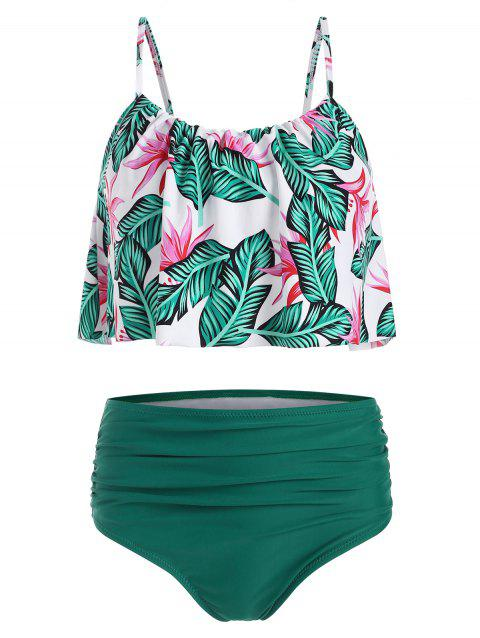 Leaves Print Ruched Overlay Tankini Swimsuit - GREEN XL